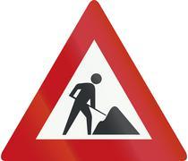 Netherlands road sign J16 - Road works ahead Stock Illustration