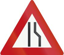 Netherlands road sign J18 - Road narrows on the right side Stock Illustration