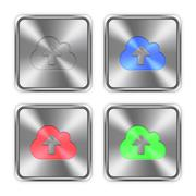 Color cloud upload steel buttons Stock Illustration