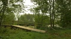Wooden bridge in the national wildlife swamp reserve - stock footage