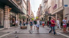 Athens. People walking on the Ermou street Stock Footage