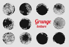 Grunge circle vector element set. Stamp stain texture - stock illustration