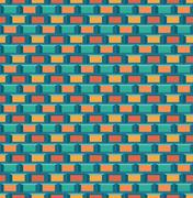 Stock Illustration of Old school 8 bit brick arcade game style background (seamless vector)
