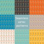 Set of 8 seamless ethnic aztec patterns - stock illustration