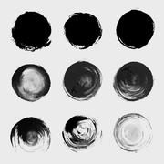 Grunge paint circle vector element set. Brush smear stain texture - stock illustration