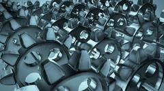 Rotating Metal gears in metallic blue color Stock Footage