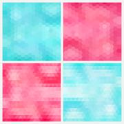 Happy abstract aquamarine and pink geometric backgrounds Stock Illustration