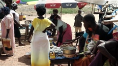 Stock Video Footage of Africa city market fast food shops