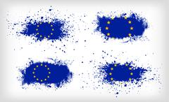 Set of four grunge vector ink spattered European Union flags - stock illustration