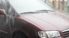 Stock Video Footage of Heavy Rain and Roof Runoff on a Parked Car, with Sound