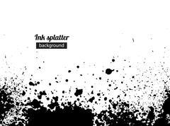 Grunge black ink splattered background - stock illustration