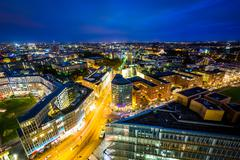 View of modern buildings at Potsdamer Platz at night, in Berlin, Germany. Stock Photos