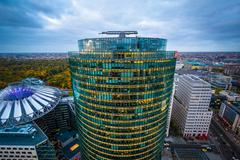 View of modern buildings at Potsdamer Platz, in Berlin, Germany. Stock Photos