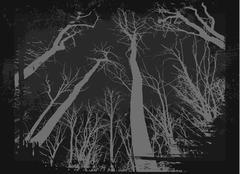 Spooky grunge forest illustration for halloween - stock illustration