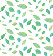 Seamless watercolor leaf pattern - stock illustration