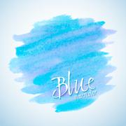 Blue watercolor stain design element - stock illustration