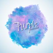 Blue and purple watercolor stain design element - stock illustration