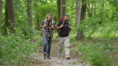 4K Cheerful male friends hiking in the woods, chatting as they walk - stock footage