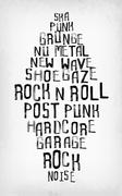 Rock music styles tag cloud, grunge oldschool typography stamp style poster Piirros