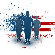 Saluting soldiers silhouette on american flag background Stock Illustration