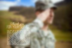Blurred illustration of saluting soldier, mesh vector background for your des - stock illustration