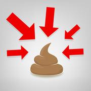 Poo illustration with red arrows pointing at it, vector Stock Illustration