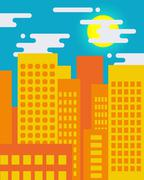 Flat style cityscape on a sunny day, big city life - stock illustration