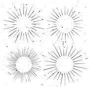 Set of vintage circle hand drawn ray frames, starburst template with a space  - stock illustration