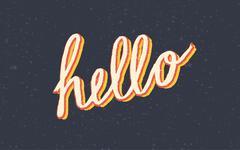 Custom stylized vintage Hello lettering - stock illustration