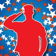 Saluting soldier silhouette on starry background Stock Illustration