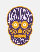 "Stock Illustration of Mexican sugar skull with ""memento mori"" (latin. Be mindful of death) letterin"