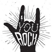 Distressed black and white poster with rock hand sign with You Rock tattoo on - stock illustration