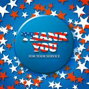 Thank you for your service, military appreciation card with star background Stock Illustration