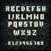 3D stereo effect alphabet on noisy TV background - stock illustration