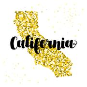 Golden glitter illustration of the state of California with modern lettering - stock illustration