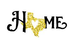 Texas is home golden glitter illustration with modern lettering Stock Illustration
