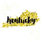 Stock Illustration of Golden glitter illustration of the state of Kentucky with modern lettering