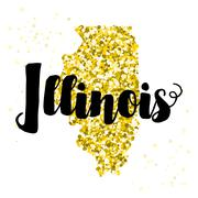 Golden glitter illustration of the state of Illinois with modern lettering - stock illustration