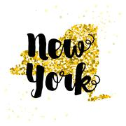 Stock Illustration of Golden glitter illustration of the state of New York with modern lettering