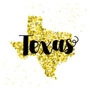 Golden glitter illustration of the state of Texas with modern lettering Stock Illustration