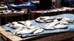 Africa fish market city buba Stock Footage