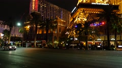 Las Vegas hotel Paris. Night. Eiffel Town. Stock Footage