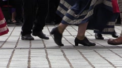 Tarantella italian folk dance.Anonymous feet dancing and accordion. Slow motion Stock Footage