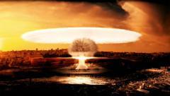 Atomic bomb explosion in Tel Aviv - stock footage
