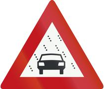 Netherlands road sign J35 - Reduced visibility because of snow, rain or fog - stock illustration