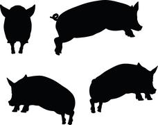 Stock Illustration of pig silhouette