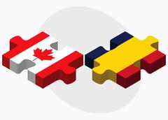Canada and Chad Flags - stock illustration