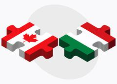Canada and Hungary Flags - stock illustration