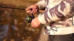 Fishing with spinning Stock Footage