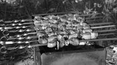 Barbecue meat on grill. Stock Footage